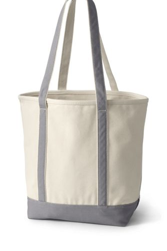 Large Natural Open Top Long Handle Canvas Tote Bag