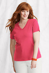 Women's Short Sleeve Shaped 1x1 Rib V-neck T-shirt