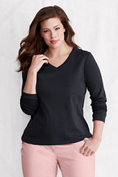 Women's Long Sleeve Shaped 1x1 Rib V-neck T-shirt