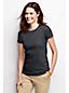 Unifarbenes Feinripp-T-Shirt mit Rundhals-Ausschnitt für Damen in Normalgröße