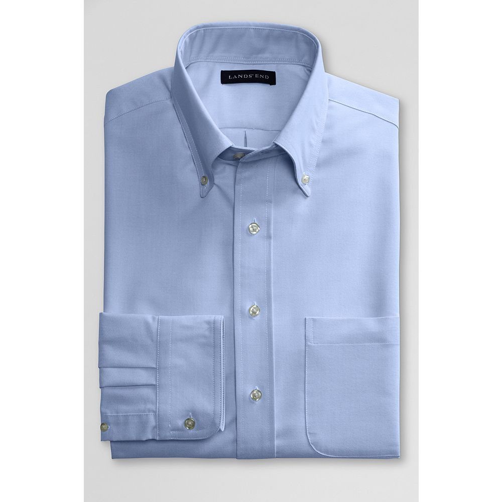 Lands' End School Uniform Mens Dress Code Long Sleeve Blend Oxford Dress Shirt