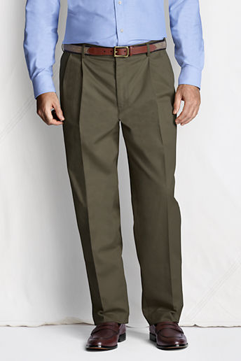 Men's Regular Pleat Front Comfort Waist No Iron Chino Pants - Forest Moss, 34