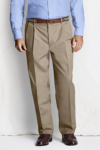 Men's Regular Pleat Front Comfort Waist No Iron Chino Pants - Khaki, 34