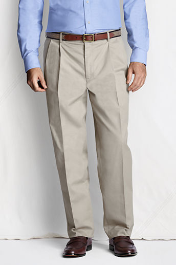 Men's Regular Pleat Front Comfort Waist No Iron Chino Pants - Light Stone, 36