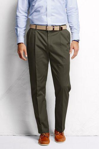 Men's Regular Pleated Front Comfort-waist No-iron Chinos