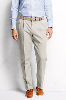 Men's No-iron Comfort-waist Pleated Front Chinos