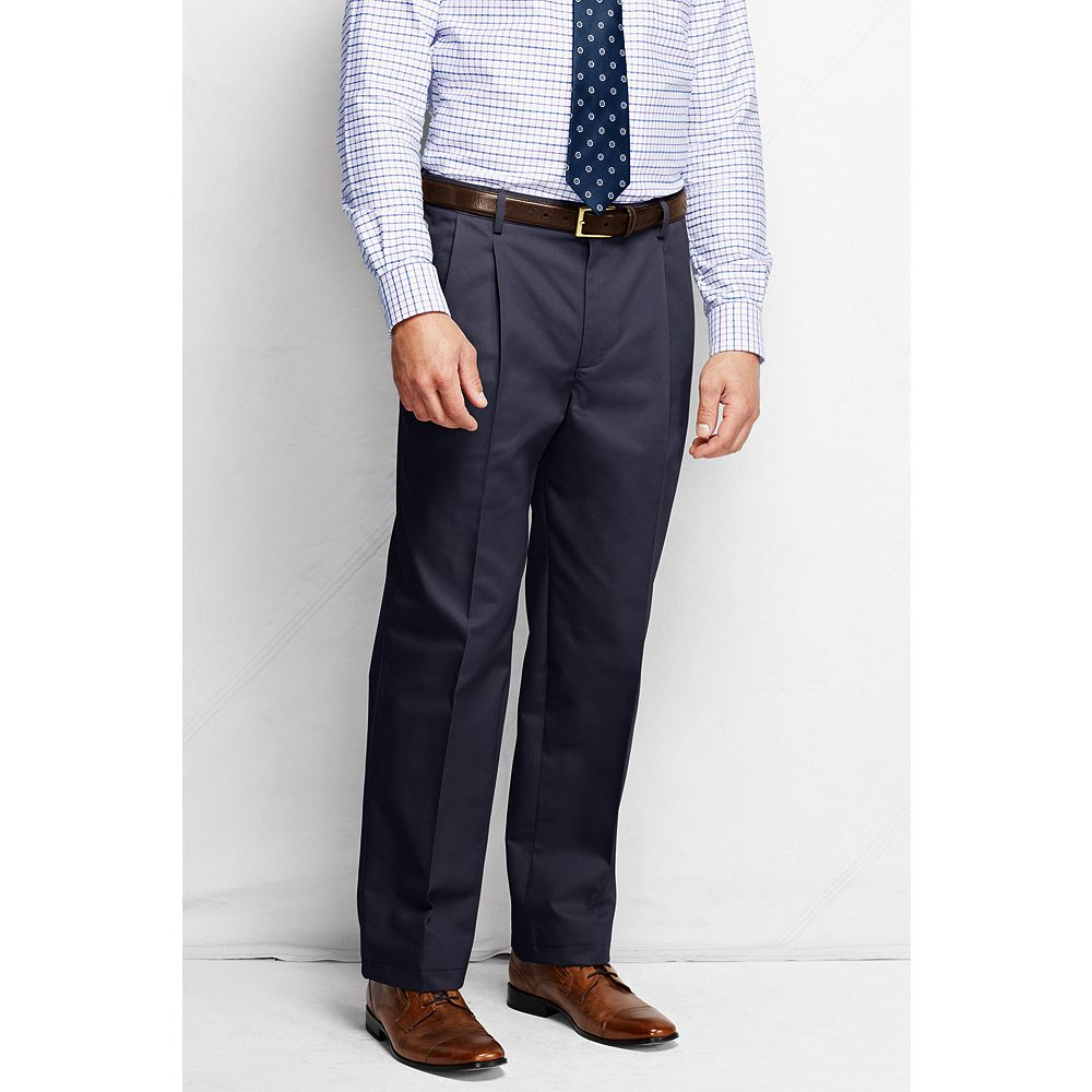 Lands' End Men's Big & Tall and Tall Pleat Front Comfort Waist No Iron Chino Pants at Sears.com