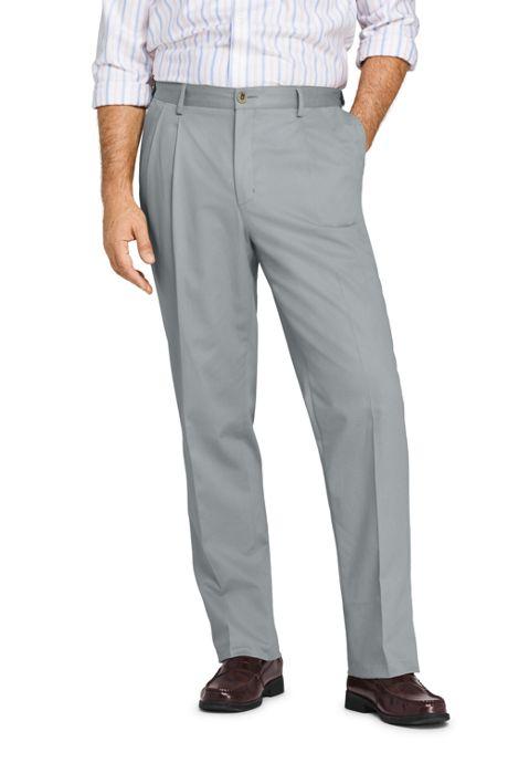 Men's Comfort Waist Pleated No Iron Chino Pants