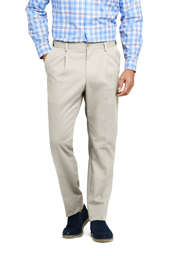 Men's Comfort Waist Pleated No Iron Chino Pants - Lands' End