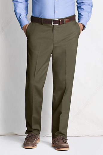 Men's Regular Plain Front Comfort Waist No Iron Chino Pants - Forest Moss, 34