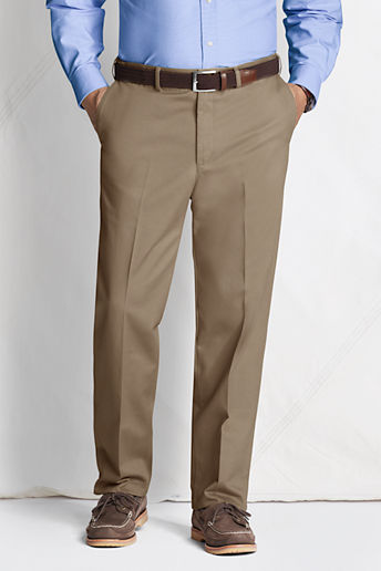 Men's Regular Plain Front Comfort Waist No Iron Chino Pants - Khaki, 33
