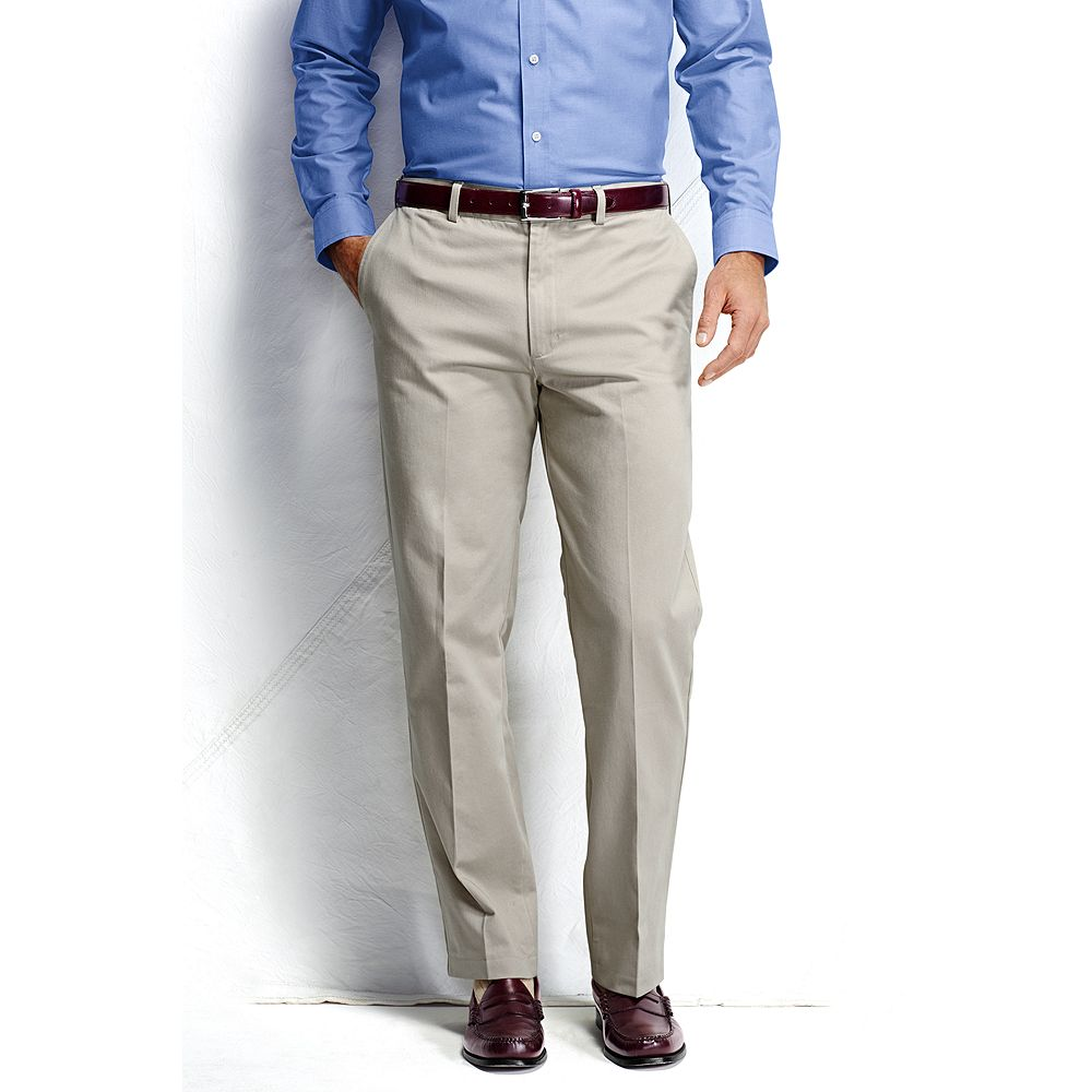 Lands' End Men's Big & Tall and Tall Plain Front Comfort Waist No Iron Chino Pants at Sears.com