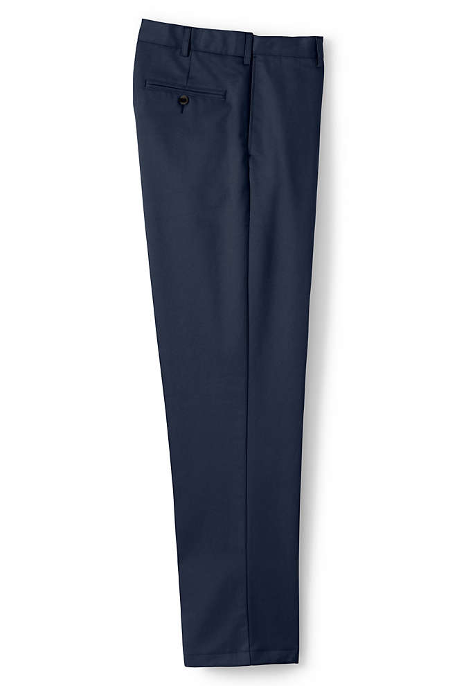 Men's Plain Front Comfort Waist No Iron Chino Pants , Front