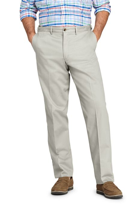Men's Long Plain Front Comfort Waist No Iron Chino Pants