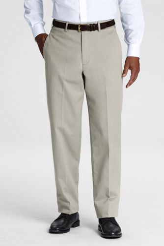 Men's Long Plain Front Traditional Fit No Iron Chino Pants   - Light Stone