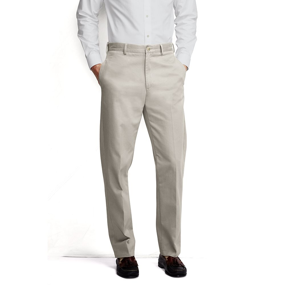 Lands' End Men's Long Plain Front Traditional Fit No Iron Chino Pants
