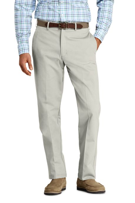 Men's Long Plain Front Traditional Fit No Iron Chino Pants