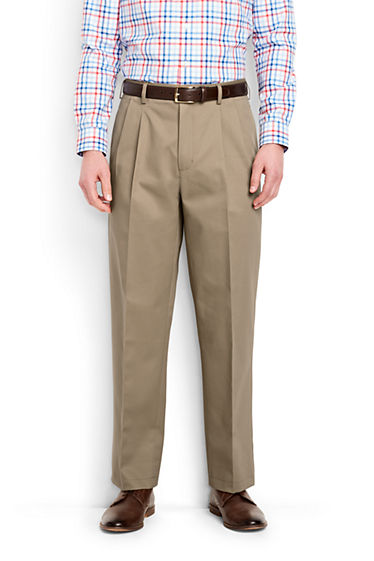 Men's Traditional Fit Pleat No Iron Chino from Lands' End