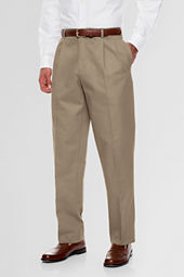 Men's Pleat Front Traditional Fit No Iron Prehemmed Chino Pants