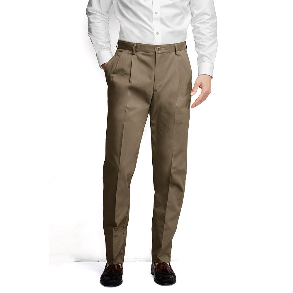 Lands' End Men's Big & Tall and Tall Pleat Front Traditional Fit No Iron Chino Pants