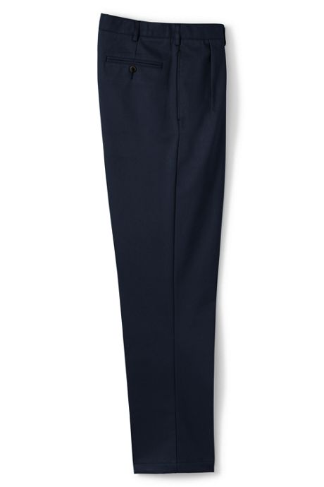 Men's Long Traditional Fit Pleated No Iron Chino Pants