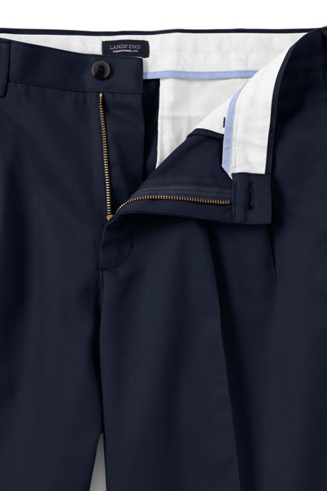 School Uniform Men's Traditional Fit Pleated No Iron Chino Pants