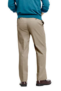 Men's Long Traditional Fit Pleated No Iron Chino Pants, Back