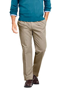 Men's Long Traditional Fit Pleated No Iron Chino Pants, Front