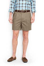 "Men's No Iron 6"" Pleat Front Comfort Waist Chino Shorts"