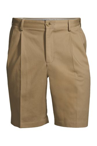 "Men's No Iron 9"" Plain Front Comfort Waist Chino Shorts"