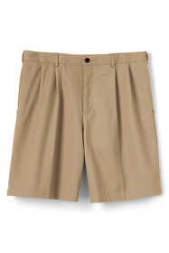 "Men's No Iron 9"" Pleat Front Comfort Waist Chino Shorts"