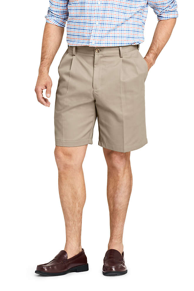 "Men's Comfort Waist Pleated 9"" No Iron Chino Shorts, Front"