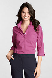 Women's 3/4-sleeve Flip Cuff Pattern Broadcloth Blouse