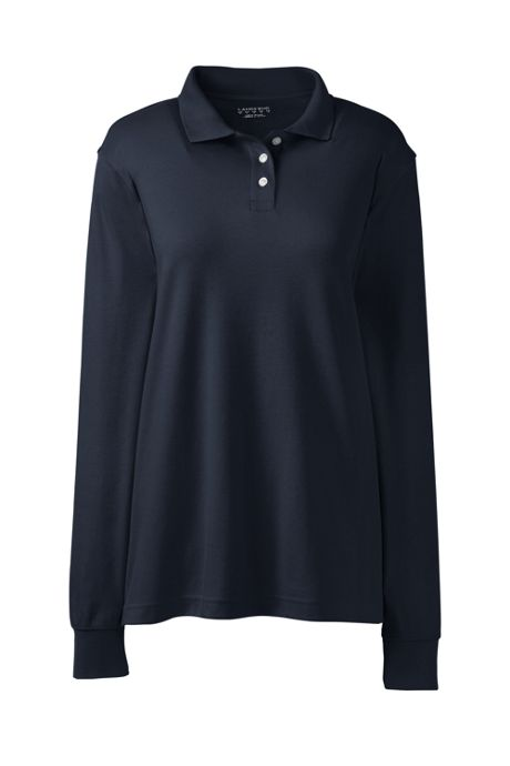 School Uniform Women's Tall Long Sleeve Interlock Polo