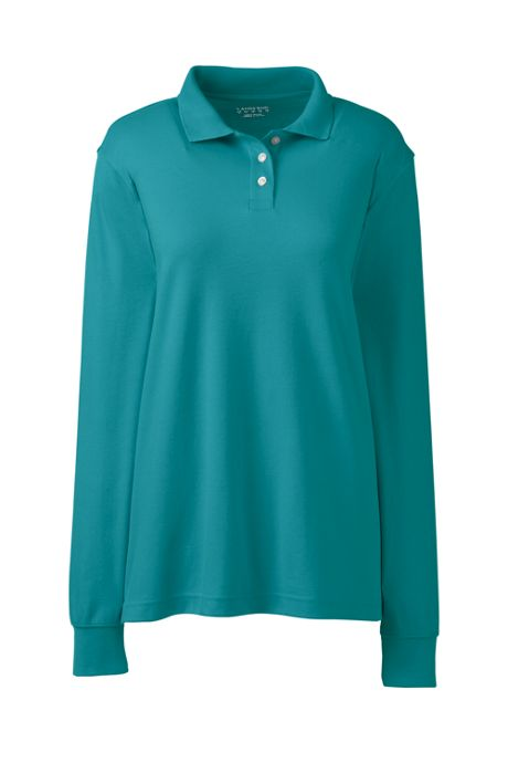 School Uniform Women's Long Sleeve Interlock Polo