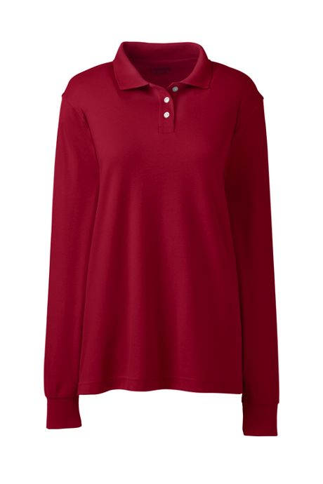School Uniform Women's Long Sleeve Interlock Polo Shirt