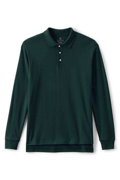 School Uniform Men's Long Sleeve Interlock Polo Shirt