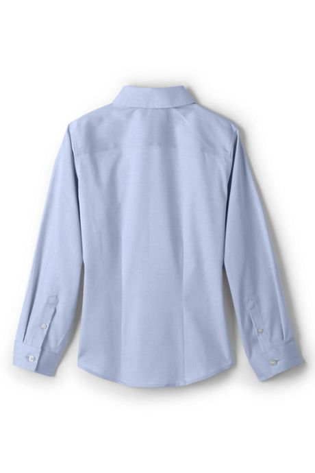 School Uniform Little Girls Long Sleeve No Iron Pinpoint Shirt