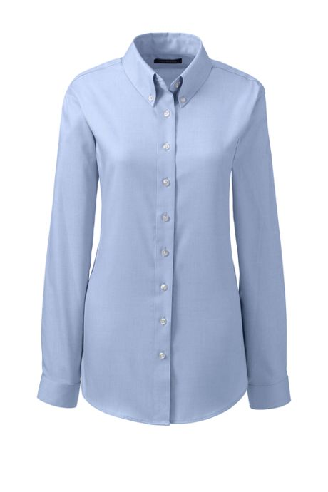 School Uniform Women's Long Sleeve No Iron Pinpoint Shirt