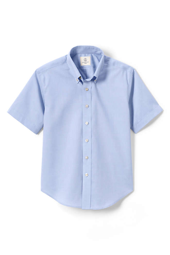 Boys Short Sleeve No Iron Pinpoint Dress Shirt, Front
