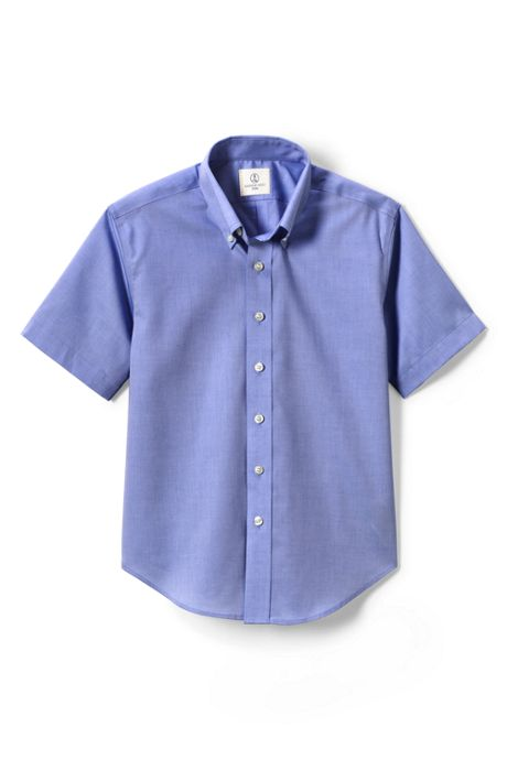 Boys Short Sleeve No Iron Pinpoint