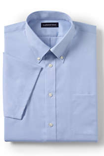 School Uniform Men's Short Sleeve No Iron Pinpoint Dress Shirt, Front