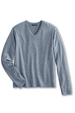 LE Italian Italian Merino V-neck Sweater: Slate Blue Heather