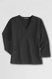 Women's Rayon Nylon 3/4-sleeve V-neck Sweater