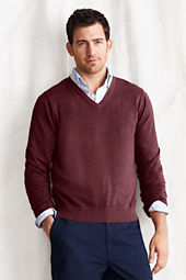 Men's Fine Gauge Supima Cotton V-neck Sweater