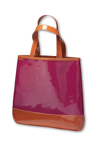 Patent leather magazine tote from Lands' End featured on Shopalicious.com