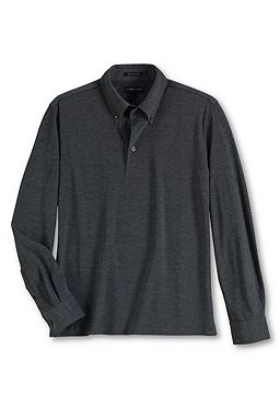 Long Sleeve Pima Pinpoint Buttondown Polo Shirt: Dark Charcoal Heather / Pewter Heather