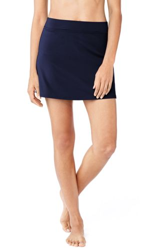 Women's Plus Beach Living Plain SwimMini Skirt with Tummy Control