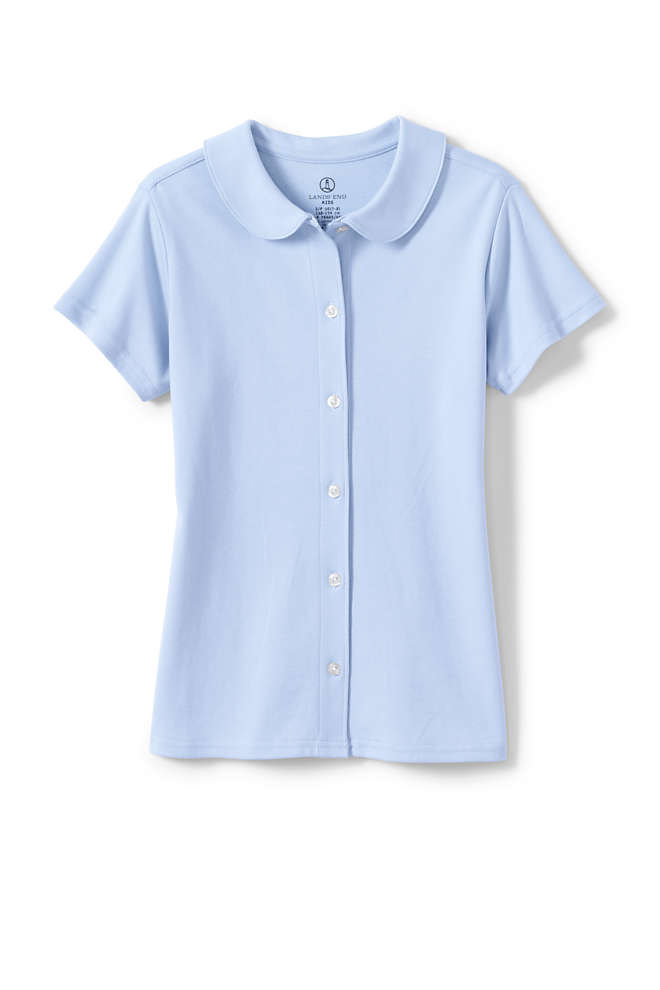 School Uniform Girls Short Sleeve Button Front Peter Pan Collar Knit Shirt, Front