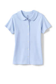 Girls Short Sleeve Button Front Peter Pan